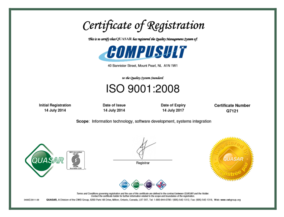 ISO 9001:2008 Registration